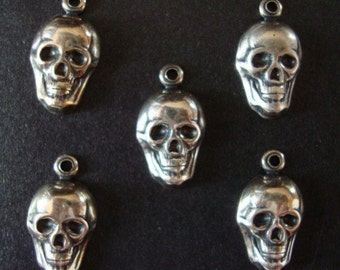 5 STERLING SILVER Plated Skull Dangles, Great Earring Supplies or Craft Supply, USA Metals