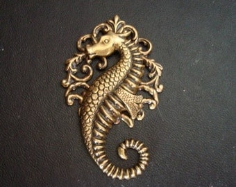 OCEANS BEAUTY, SEAHORSE With a Victorian Flair, 2 5/8 Inches Tall Pendant