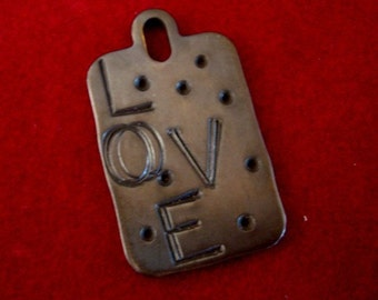 Jewelry Supply, Solid Brass, Love, Necklace Pendant, MESSED UP LOVE, Pendant, Stamped Brass