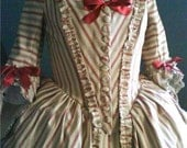 1770 - 1790 Century, Colonial, Cotton Polonaise Gown, hand pinked with silk ribbon, Made to Order