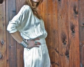 SALE vintage white SATIN JUMPER onsie pants disco.Marked down from 78.00
