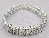 Name Bracelet, Custom Bracelet,  Sterling Silver,  Swarovski Crystals,  Mother's Grandma,  Mother's Bracelet