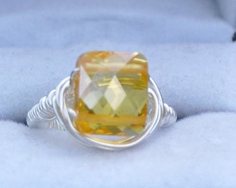 Wire wrapped Cubic Zirconium ring- Sunshine, Yellow Ring, CZ Ring, Silver Ring, Gemstone Jewelry