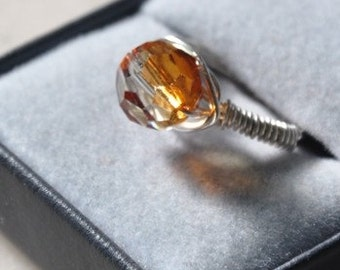 Wire wrapped Swarovski crystal ring- Champaigne color