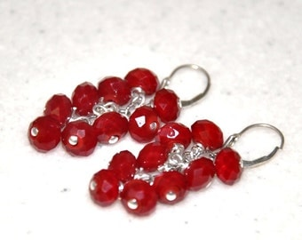 Red Earrings, Dangle Earrings, Sterling silver, Silver Earrings, angelic crystals, lever back ear wire, Holiday present