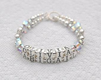 Name Bracelet, Double Strand Mother's Bracelet, Two Name Sterling Silver  Swarovski crystals Mother's Grandma Beaded Personalized Custom