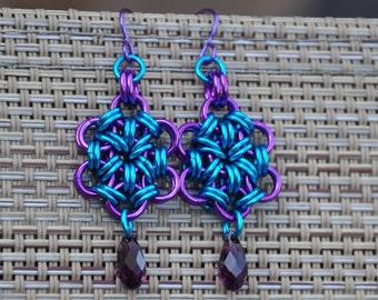 Chain maille earrings, dangle earrings, Purple Star earrings- Enameled copper , Swarovski crystals, niobium earwires.