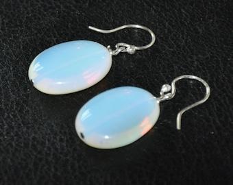 Sterling Silver Earrings,  Dangle Earrings,  Gemstone Earrings,  Opalite earrings,  Chunky stone, Wedding Jewelry