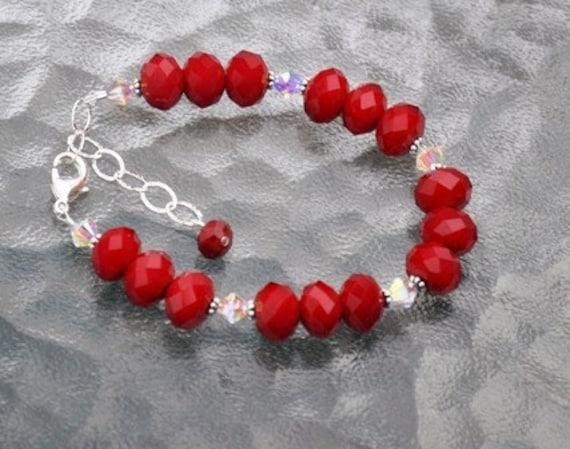 Red Bracelet,  Crystal bracelet,  Sterling Silver,  Swarovski crystals,  Adjustable, Fashion Jewelry, Valentine