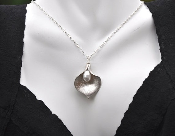 Handmade Calla Lilly silver necklace- Sterling silver, Swarovski pearl-adjustable