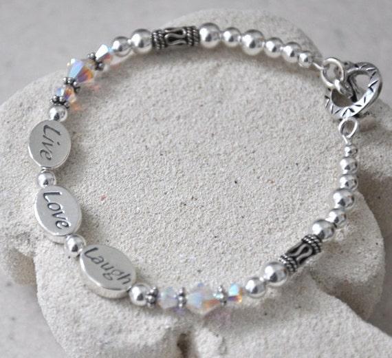 Sterling Silver Bracelet, Swarovski Crystals Bracelet,- Live, Love, Laugh, Awarness Jewelry, 925 Sterling Silver