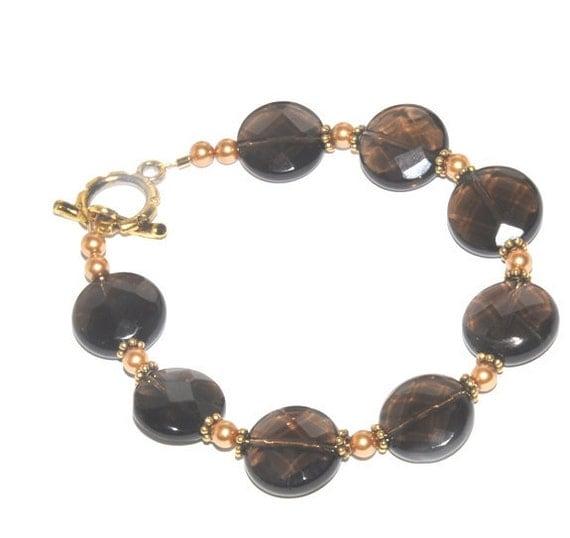 Smoky quartz beaded bracelet- smokey quartz, Swarovski pearls, Gemstone Bracelet, Faceted Stones