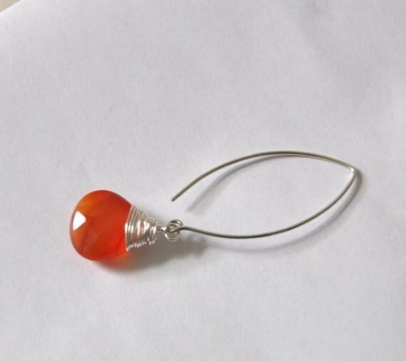 Dangle Earrings, Sterling Silver Earrings, Carnelian gemstone, Fashion Jewelry