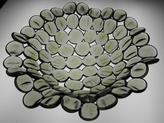 Fused Glass Bowl, Optic POD  - Gray