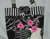 Funky Canvas Tote with Pink Flowers