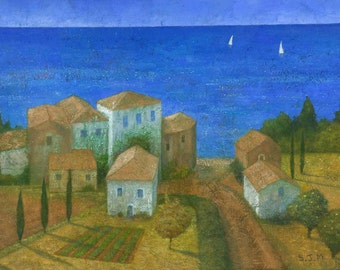 The Blue Beyond, Original Painting, Mediterranean Village