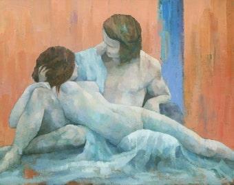 Acis and Galatea, Original Nude Couple Figure Painting