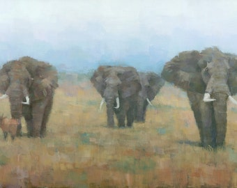 Original Elephant Painting, On the Move