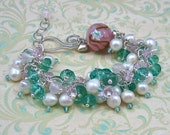 VENICE FRINGE stone, pearl and Venetian glass sterling silver bracelet by Crazy Daisy Designs