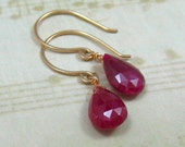 DROP OF BLOOD solid 14k gold ruby briolette earrings by Crazy Daisy Designs