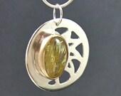 SUNSHINE 14k gold sterling pierced rutilated quartz sun pendant by Crazy Daisy Designs