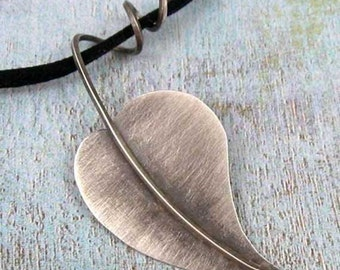 SIMPLE BEAUTY sterling silver leaf pendant by Crazy Daisy Designs