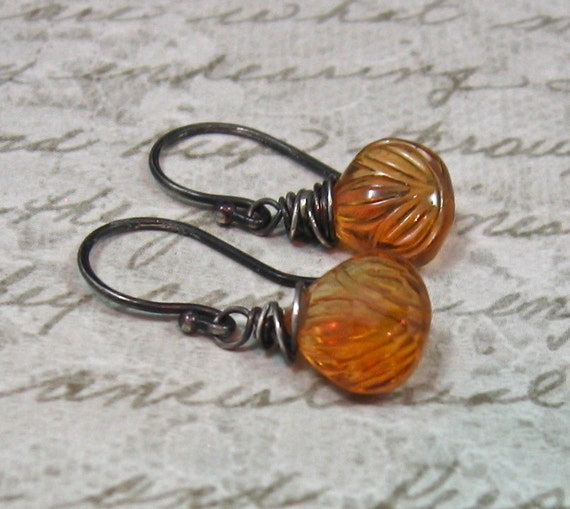 SUNSET DROPS carved yellow quartz teardrop sterling silver earrings by Crazy Daisy Designs