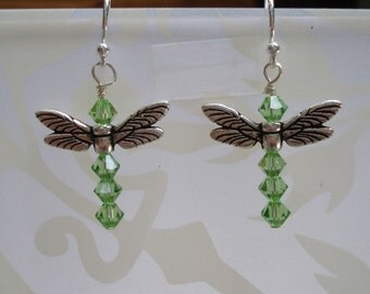 Dragonfly peridot Swarovski crystal earrings