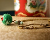 Hand embroidered green felt bead necklace