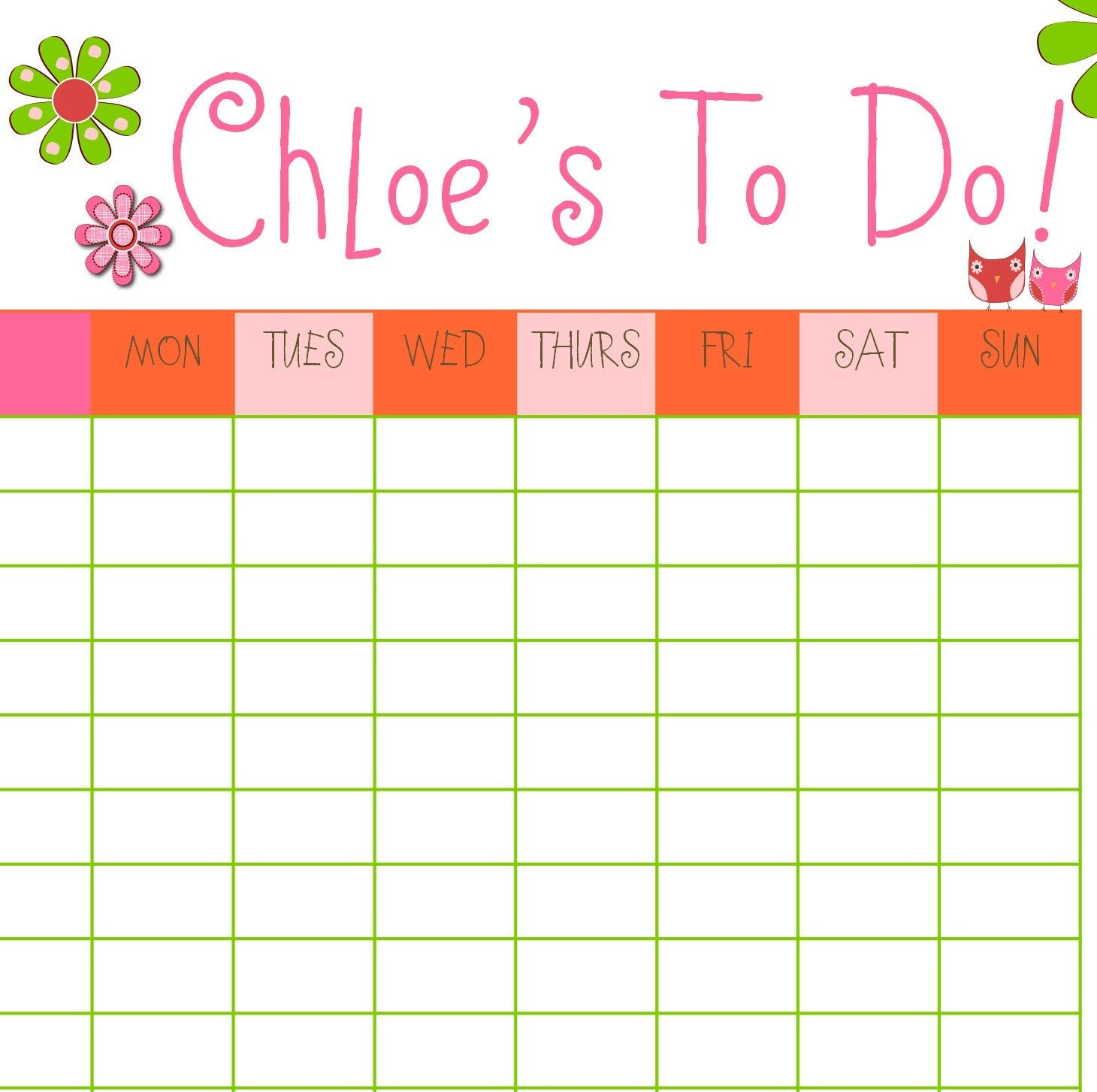 Calendar Chart : Pdf chore chart family calendar owls