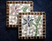 Cheerful Flower Mosaic Coasters, Pair