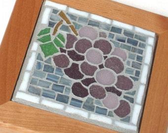 Luscious Grapes, Framed Mosaic Art