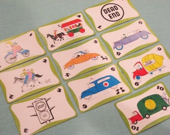 Vintage GO GO GO Cards - Set of 10 - Transportation Illustrations - Green Variety
