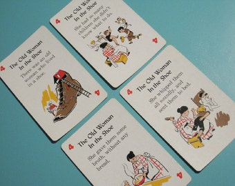 Vintage Mother Goose Nursery Rhymes Cards - Set of 4 - The Old Woman in the Shoe