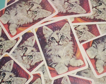 Vintage Gray Kitten in Basket Playing Cards - Set of 6
