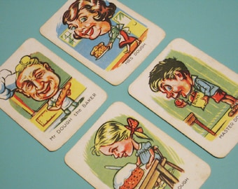 Vintage Happy Families Cards - Set of 4 - The Dough Family (Baker) - Funny Character Illustrations