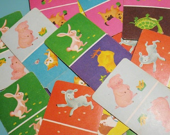 Vintage Animal Dominoes Cards - Set of 12 - Cute Baby Animals