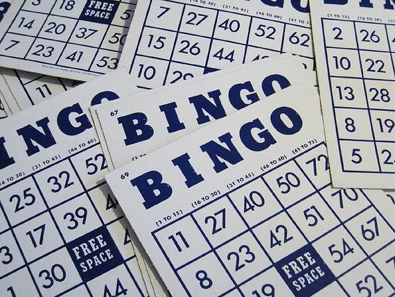 Vintage Whitman Bingo Cards - Dark Blue Text on White Card - Set of 15 - Collage, Ephemera