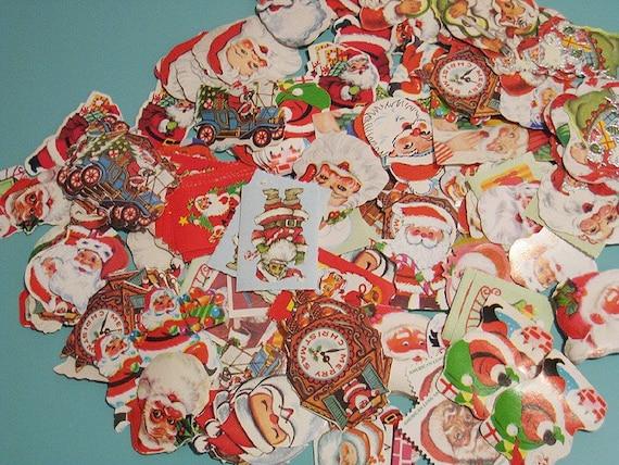 Vintage Santa Claus Assorted Gummed Labels / Stickers - Set of 12 - Random Mix