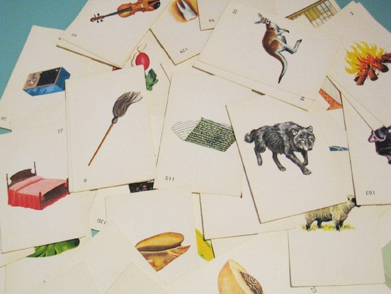 Vintage Educational Flash Cards - Set of 8 - Illustrations, Alphabet, Learning