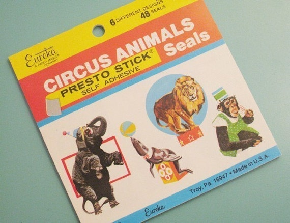 Vintage Eureka Circus Animals Stickers (Decals) - LAST ONE