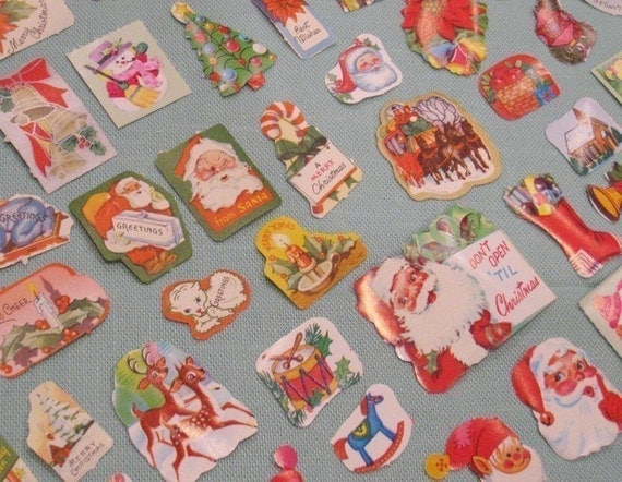 Vintage Mini Assorted Christmas Gummed Labels / Stickers - Set of 20 - Random Selection - Christmas Related Illustrations
