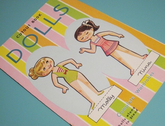 Vintage Dress Up Doll Book - Uncut Paper Doll Book - Cute Girls Molly & Nina - 2 Stand Up Dolls - LAST ONE