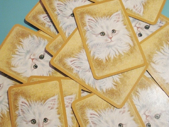 Vintage Hallmark White Cat on Gold Playing Cards - Set of 12