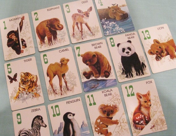 RESERVED - Vintage Cute Baby Animals Cards - 2 Sets of 13 - Animal Rummy - RESERVED for ExquisitePapers