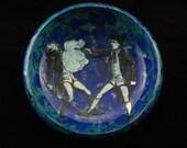 Decoupaged wooden trinket bowl with Dueling Gentlemen theme
