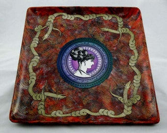Medusa and Her Minions large decoupaged tray