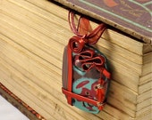 Wonderful Polymer Clay Pendant in Red and Turquoise with Red Ribbon Wire