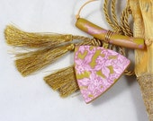 Gold and Pink Polymer Clay Necklace with Mica Shift Design