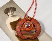 Bold and Beautiful Polymer Clay Pendant and or Brooch in Sunset Colors